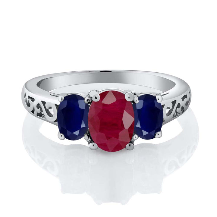 2.70 Ct Oval Red Ruby Blue Sapphire 925 Sterling Silver Ring