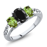 Gem Stone King 2.66 Ct Oval Black Sapphire Green Peridot 925 Sterling Silver 3 Stone Ring