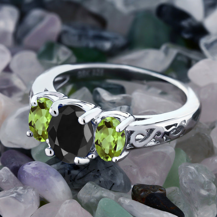 2.66 Ct Oval Black Sapphire Green Peridot 925 Sterling Silver Ring