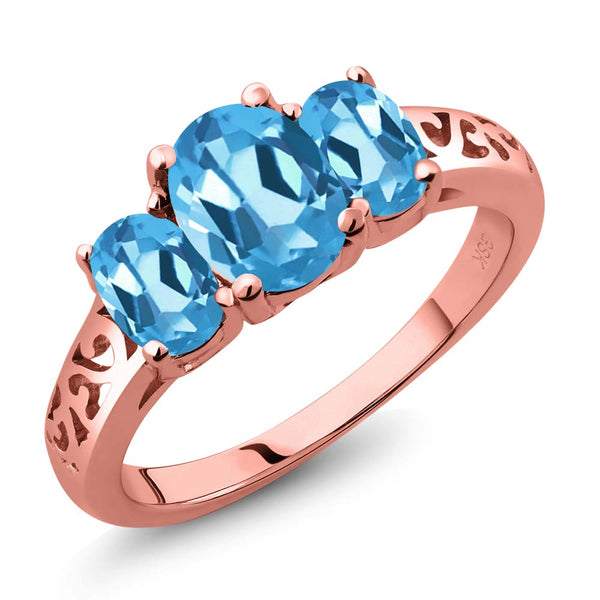 Gem Stone King 2.30 Ct Oval Swiss Blue Topaz 18K Rose Gold Plated Silver 3 Stone Ring