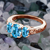 2.30 Ct Oval Swiss Blue Topaz 18K Rose Gold Plated Silver Ring