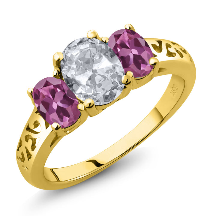 Gem Stone King 2.30 Ct Oval White Topaz Pink Tourmaline 18K Yellow Gold Plated Silver 3 Stone Ring