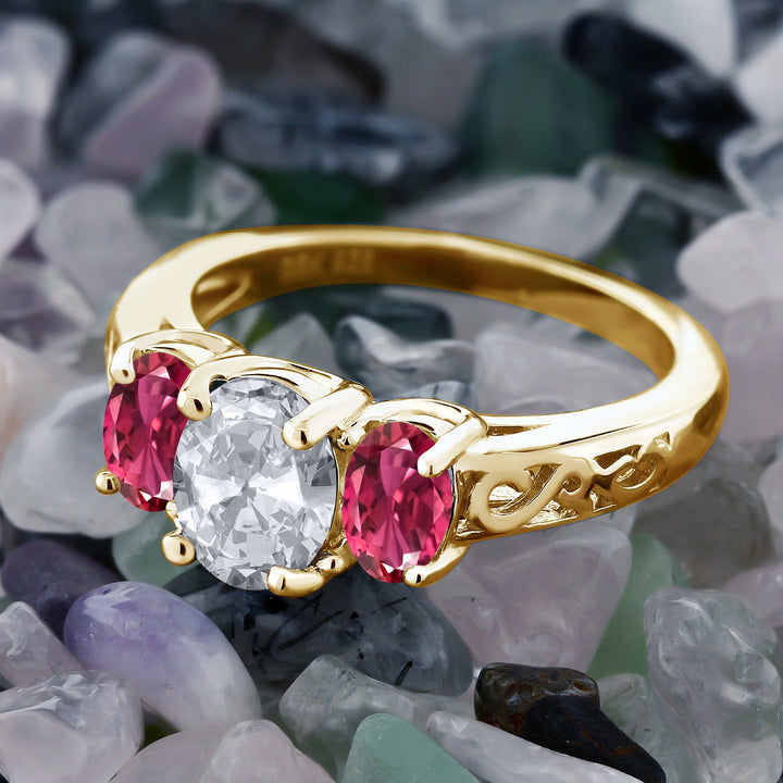 2.30 Ct Oval White Topaz Pink Tourmaline 18K Yellow Gold Plated Silver Ring