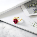5.00 Ct Oval Red Created Ruby 18K Yellow Gold Plated Silver Ring