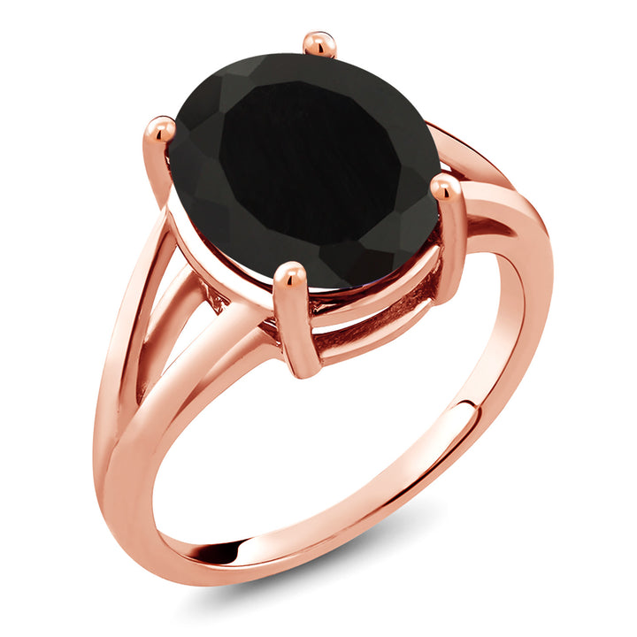 Gem Stone King 4.00 Ct Oval Black Onyx 18K Rose Gold Plated Silver Ring