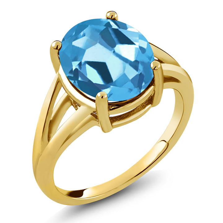 Gem Stone King 5.00 Ct Oval Swiss Blue Topaz 18K Yellow Gold Plated Silver Ring (Available 5,6,7,8,9)