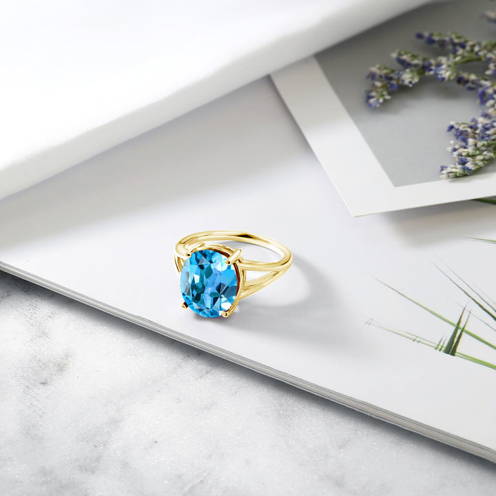 6.30 Ct Oval Swiss Blue Topaz 18K Yellow Gold Plated Silver Ring