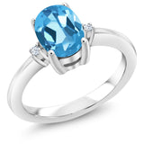 Gem Stone King 1.53 Ct Oval Swiss Blue Topaz 925 Sterling Silver Ring