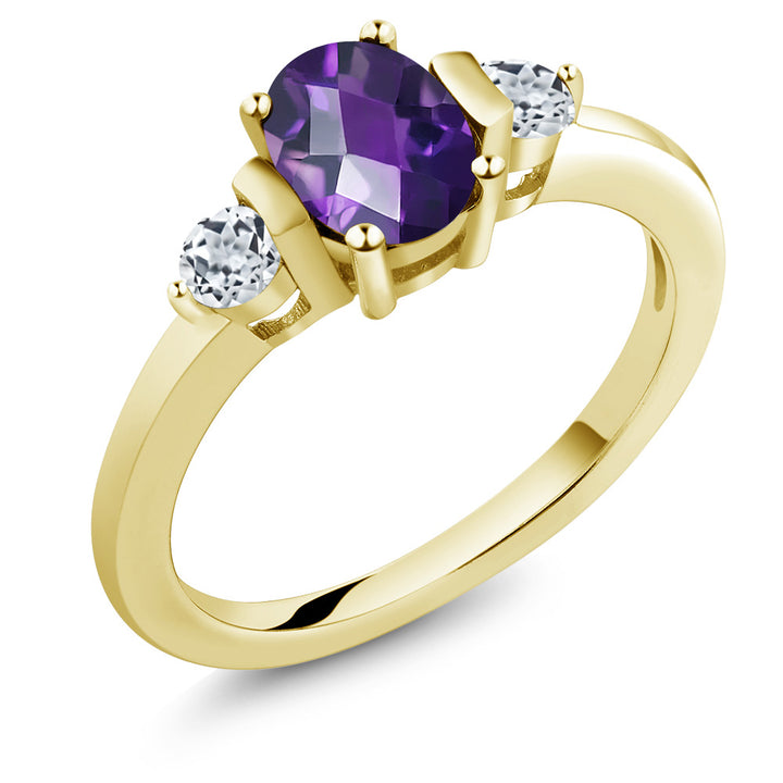 Gem Stone King 1.03Ct Oval Checkerboard Amethyst White Topaz 18K Yellow Gold Plated Silver Ring