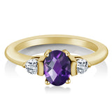 1.03Ct Oval Checkerboard Amethyst White Topaz 18K Yellow Gold Plated Silver Ring