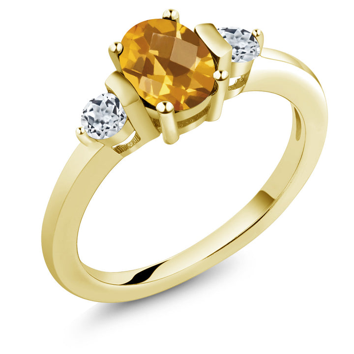 Gem Stone King 0.98 Ct Oval Checkerboard Citrine White Topaz 18K Yellow Gold Plated Silver Ring