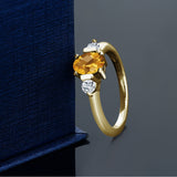 0.98 Ct Oval Checkerboard Citrine White Topaz 18K Yellow Gold Plated Silver Ring
