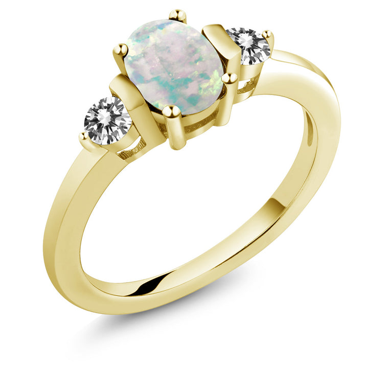 Gem Stone King 0.83 Ct Cabochon White Simulated Opal Diamond 18K Yellow Gold Plated Silver Ring