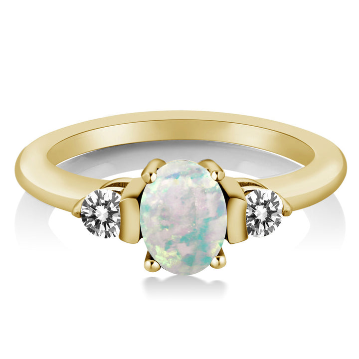 0.83 Ct Cabochon White Simulated Opal Diamond 18K Yellow Gold Plated Silver Ring