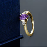 0.95 Ct Oval Purple Amethyst White Diamond 18K Yellow Gold Plated Silver Ring