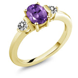 Gem Stone King 0.95 Ct Oval Purple Amethyst White Diamond 18K Yellow Gold Plated Silver Ring