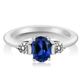 1.10 Ct Oval Blue Simulated Sapphire White Diamond 925 Sterling Silver Ring