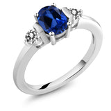 Gem Stone King 1.10 Ct Oval Blue Simulated Sapphire White Diamond 925 Sterling Silver Ring