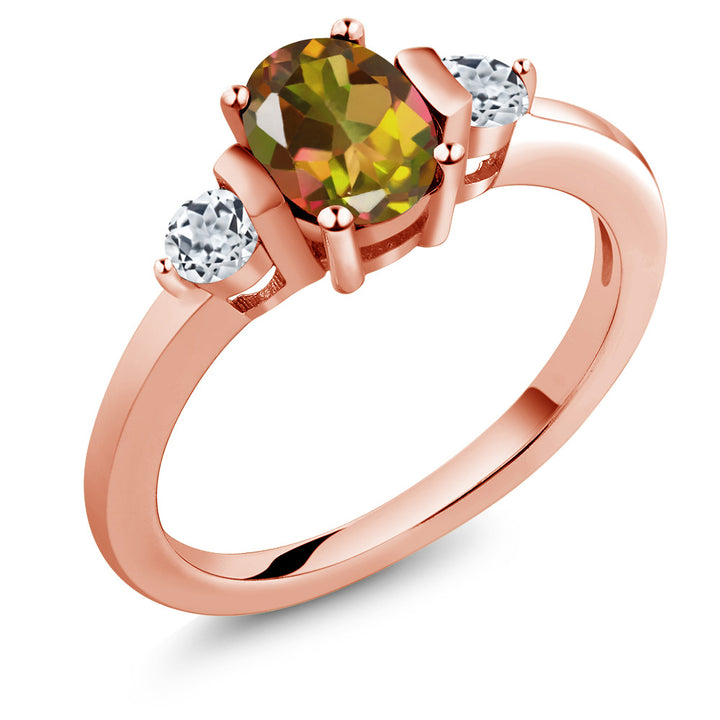 Gem Stone King 1.08 Ct Oval Mango Mystic Topaz White Topaz 18K Rose Gold Plated Silver Ring