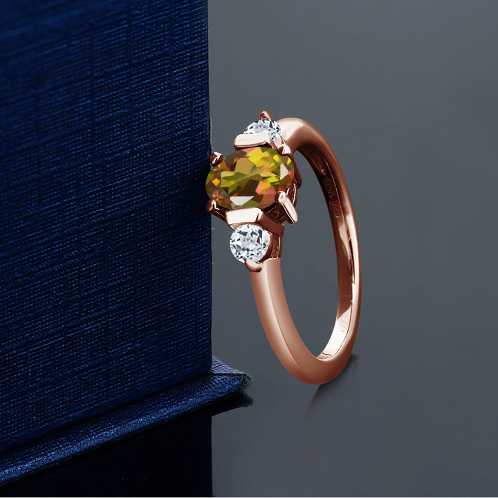 1.08 Ct Oval Mango Mystic Topaz White Topaz 18K Rose Gold Plated Silver Ring
