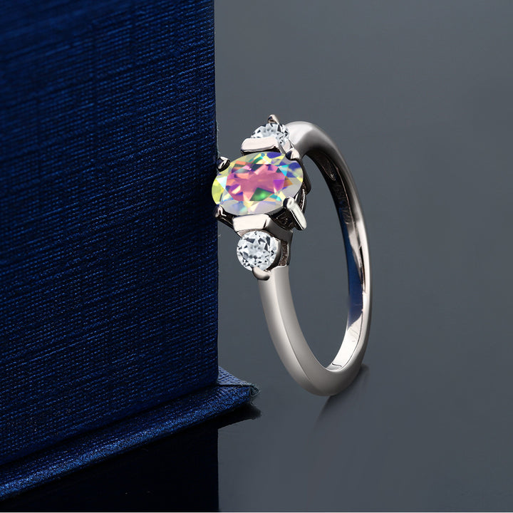 1.08 Ct Oval Mercury Mist Mystic Topaz White Topaz 925 Sterling Silver Ring