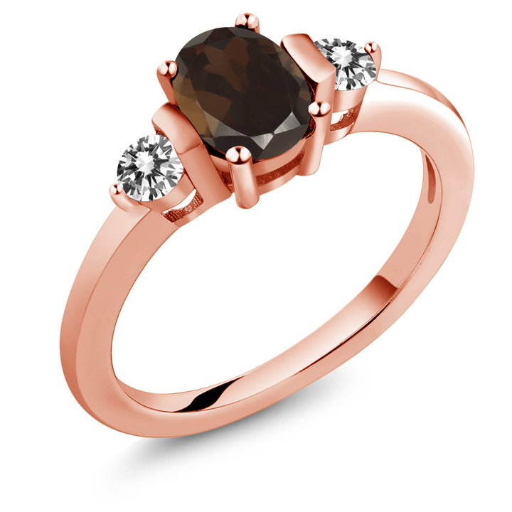 Gem Stone King 0.95 Ct Oval Brown Smoky Quartz White Diamond 18K Rose Gold Plated Silver Ring