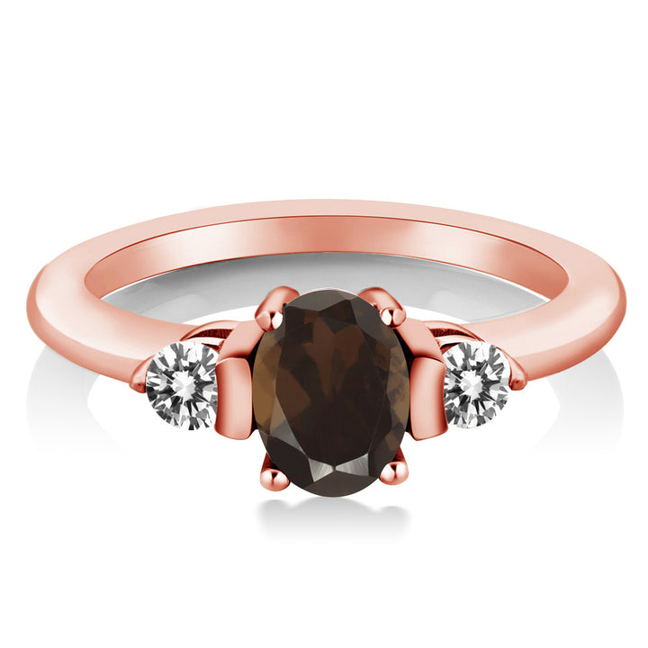 0.95 Ct Oval Brown Smoky Quartz White Diamond 18K Rose Gold Plated Silver Ring