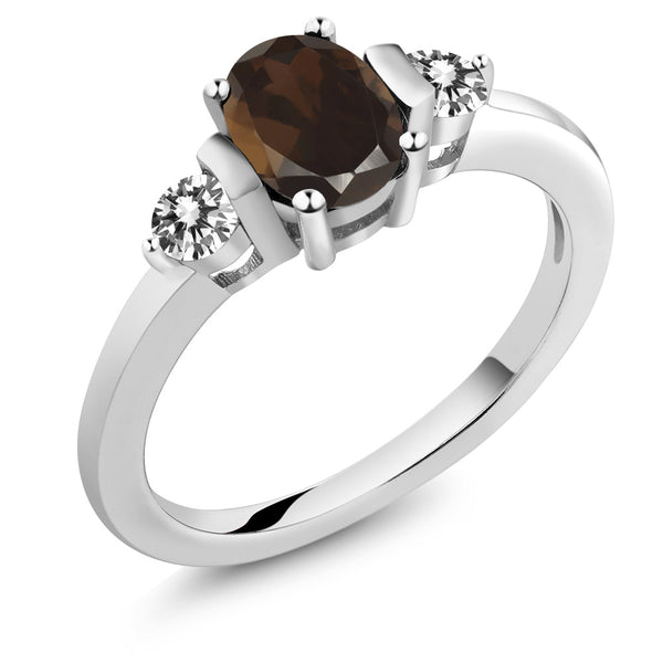 Gem Stone King 0.95 Ct Oval Brown Smoky Quartz White Diamond 925 Sterling Silver Ring