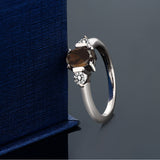 0.95 Ct Oval Brown Smoky Quartz White Diamond 925 Sterling Silver Ring