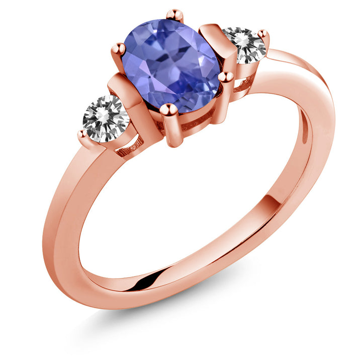 Gem Stone King 0.95 Ct Oval Blue Tanzanite White Diamond 18K Rose Gold Plated Silver Ring