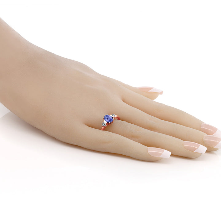 0.95 Ct Oval Blue Tanzanite White Diamond 18K Rose Gold Plated Silver Ring
