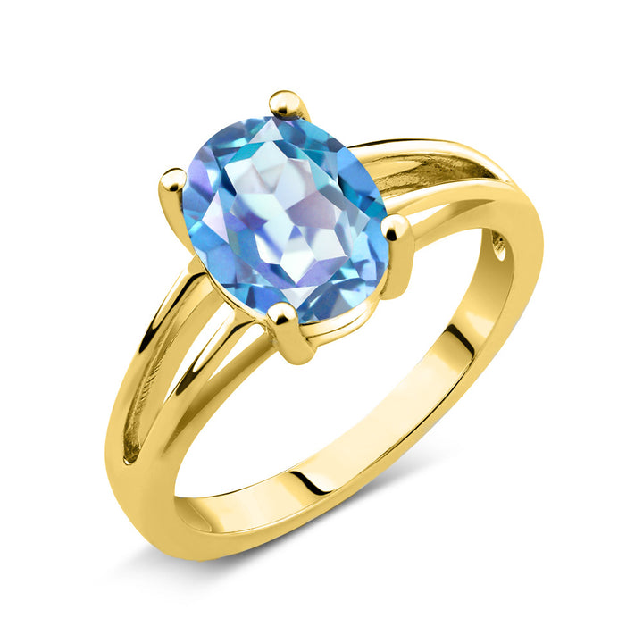 Gem Stone King 1.80 Ct Oval Millennium Blue Mystic Quartz 18K Yellow Gold Plated Silver Solitaire Ring