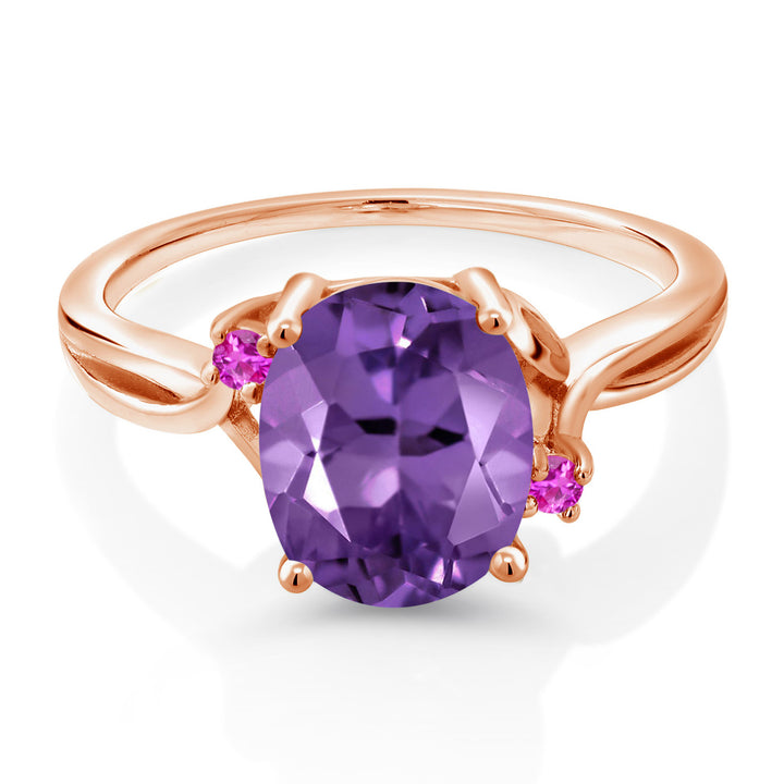 2.34 Ct Oval Purple Amethyst Pink Sapphire 14K Rose Gold Ring