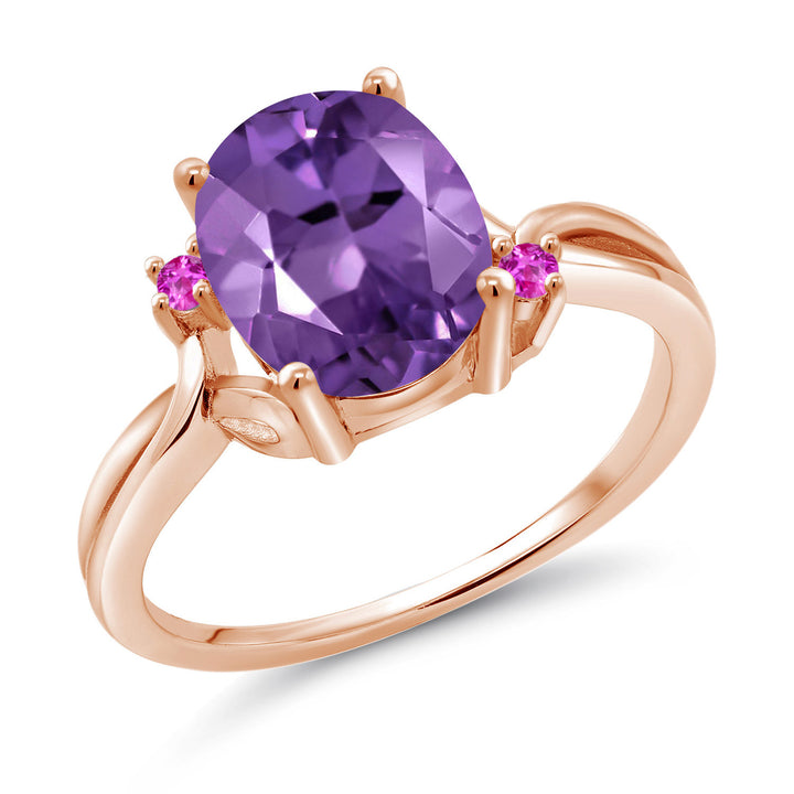 Gem Stone King 14K Rose Gold Purple Amethyst and Pink Sapphire Women's Ring 2.24 Ctw Oval Available in (Size 6)