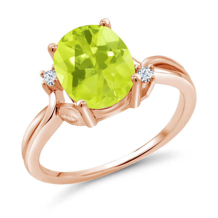 Gem Stone King 2.03 Ct Oval Yellow Lemon Quartz White Created Sapphire 14K Rose Gold Ring (Available 5,6,7,8,9)
