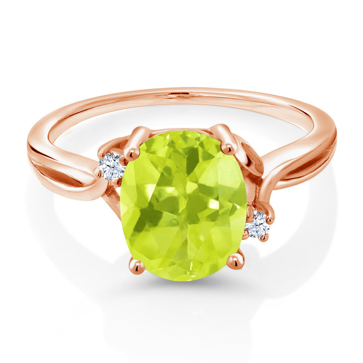 2.03 Ct Oval Yellow Lemon Quartz White Created Sapphire 14K Rose Gold Ring