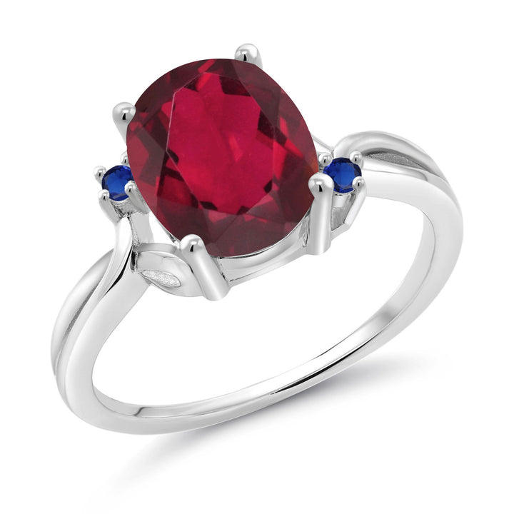 Gem Stone King 2.74 Ct Oval Red Mystic Quartz Blue Simulated Sapphire 14K White Gold Ring (Available 5,6,7,8,9)