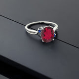 2.74 Ct Oval Red Mystic Quartz Blue Simulated Sapphire 14K White Gold Ring