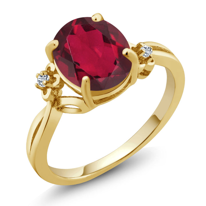 Gem Stone King 2.51 Ct Oval Red Mystic Quartz Topaz 14K Yellow Gold Ring (Size 5)