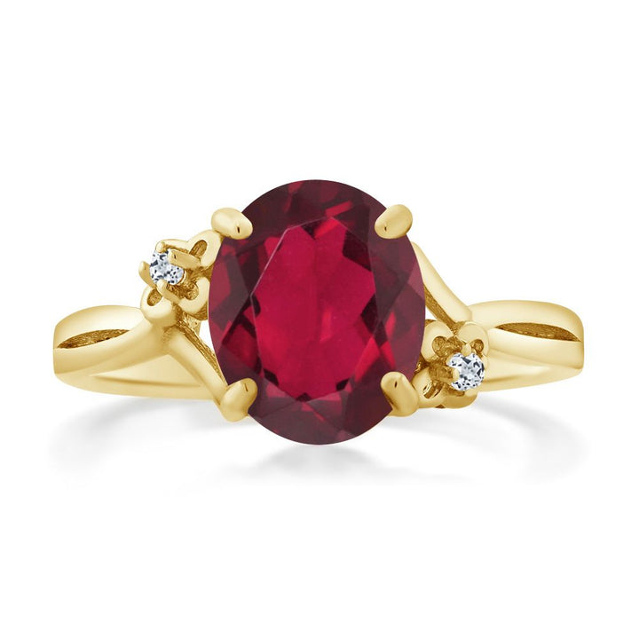 2.74 Ct Oval Red Mystic Quartz White Topaz 14K Yellow Gold Ring