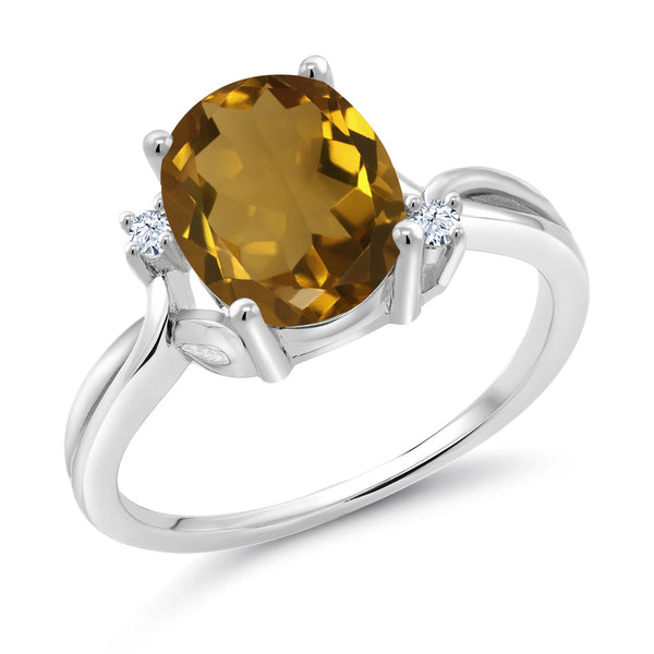 Gem Stone King 2.03 Ct Oval Whiskey Quartz White Created Sapphire 14K White Gold Ring (Available 5,6,7,8,9)