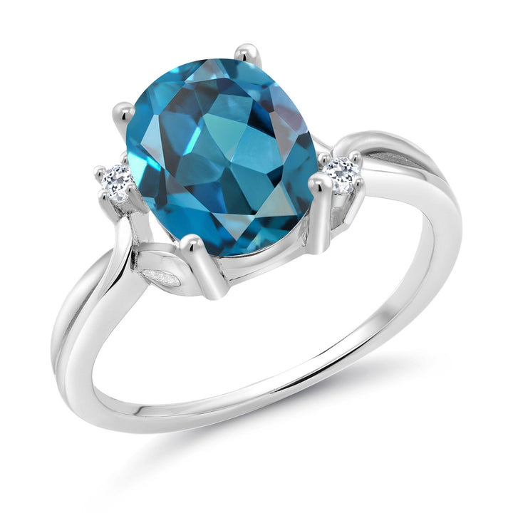 Gem Stone King 2.84 Ct Oval London Blue Topaz White Topaz 925 Sterling Silver Ring (Available 5,6,7,8,9)