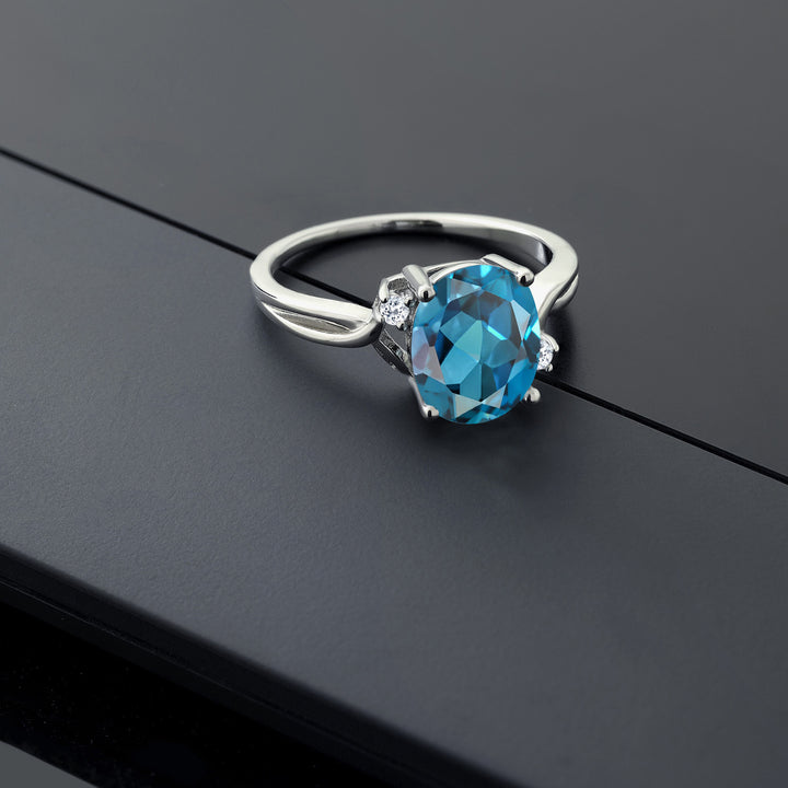 3.04 Ct Oval London Blue Topaz White Topaz 925 Sterling Silver Ring