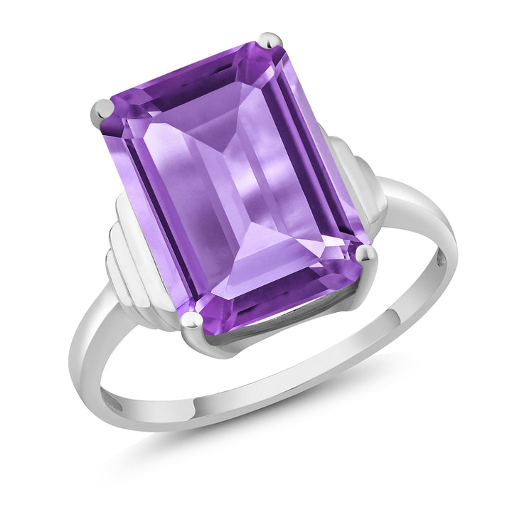 Gem Stone King 6.50 Ct Octagon Purple Amethyst 925 Sterling Silver Ring