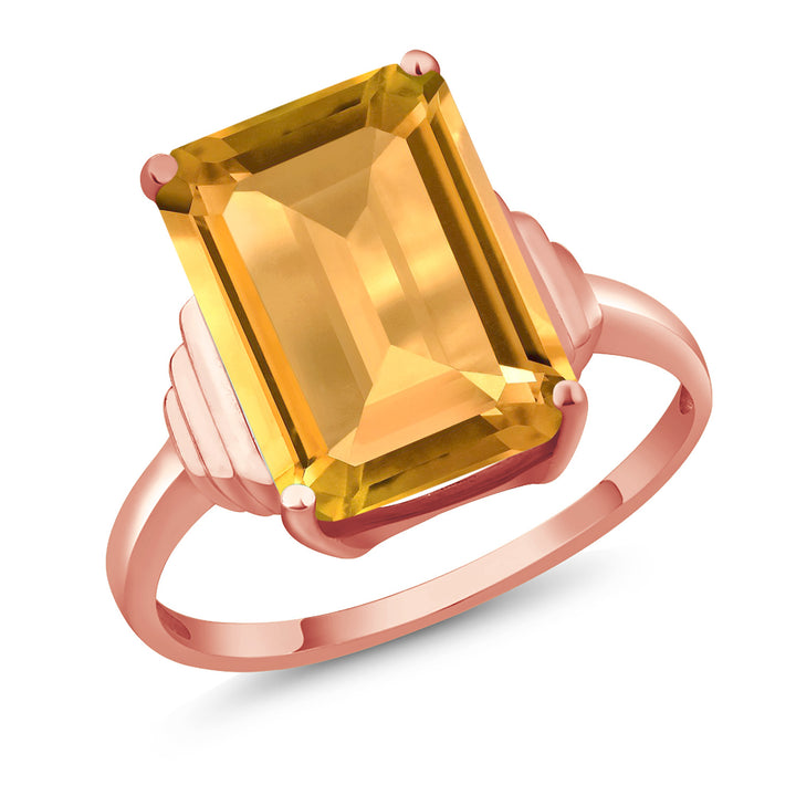 Gem Stone King 8.20 Ct Octagon Yellow Citrine 18K Rose Gold Plated Silver Ring