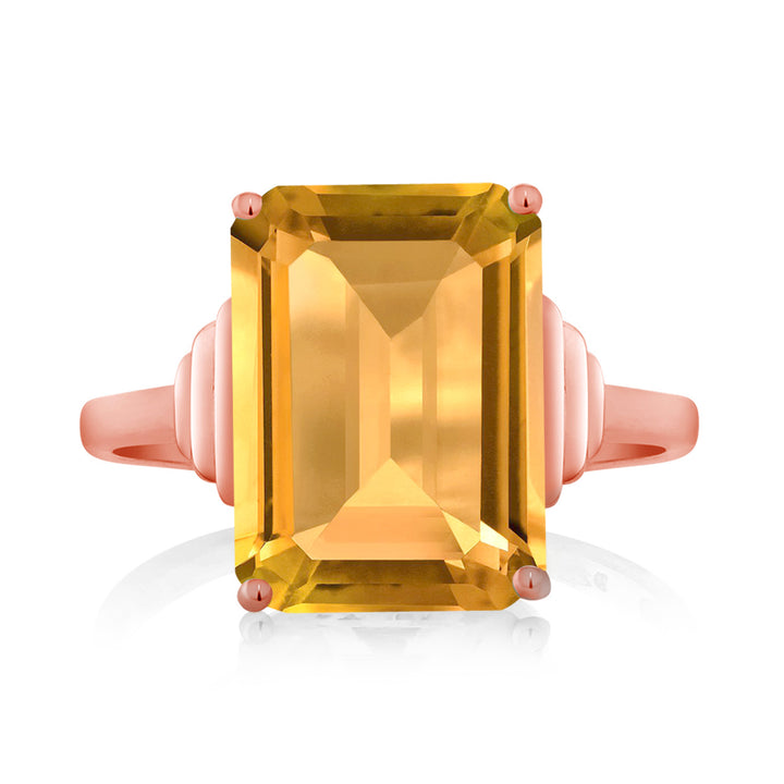 8.20 Ct Octagon Yellow Citrine 18K Rose Gold Plated Silver Ring