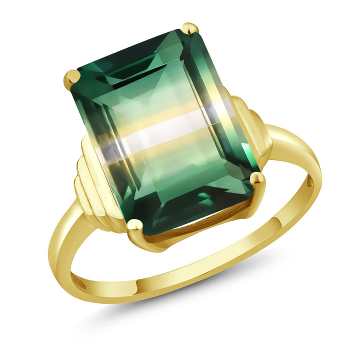 Gem Stone King 6.50 Ct Octagon Green Yellow Created Quartz 18K Yellow Gold Plated Silver Ring