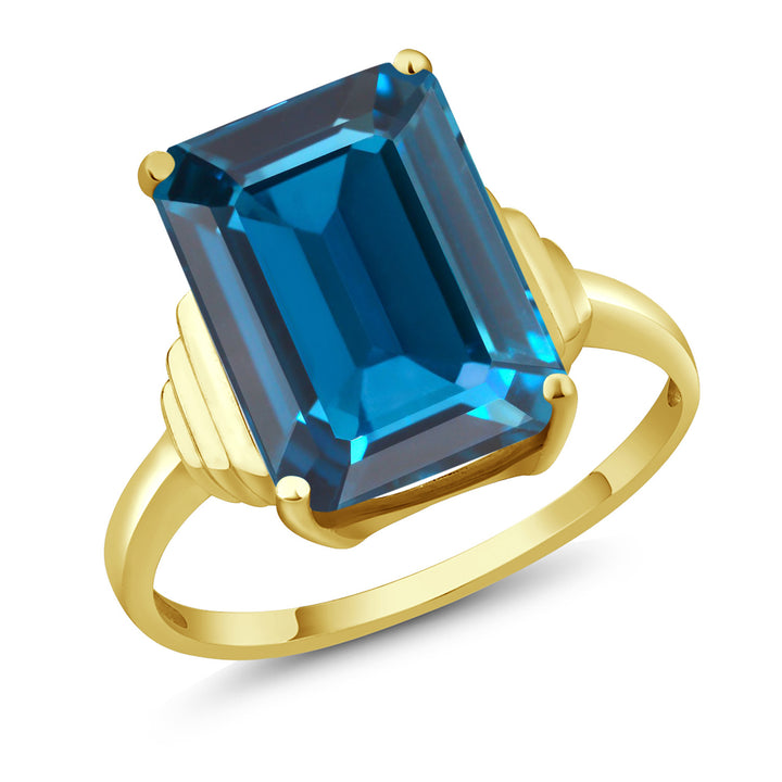 Gem Stone King 8.50 Ct Emerald Cut London Blue Topaz 18K Yellow Gold Plated Silver Ring