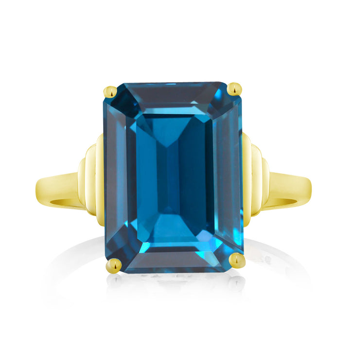 8.50 Ct Emerald Cut London Blue Topaz 18K Yellow Gold Plated Silver Ring