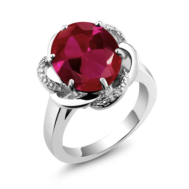 Gem Stone King 5.07 Ct Oval Red Created Ruby 925 Sterling Silver Ring